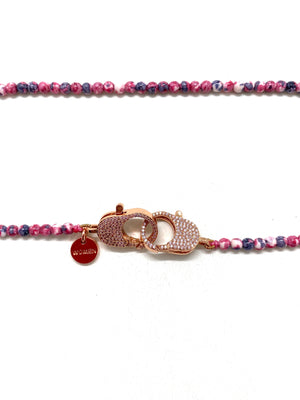 Clip to impact red rainbow Christine necklace, rose gold clips.