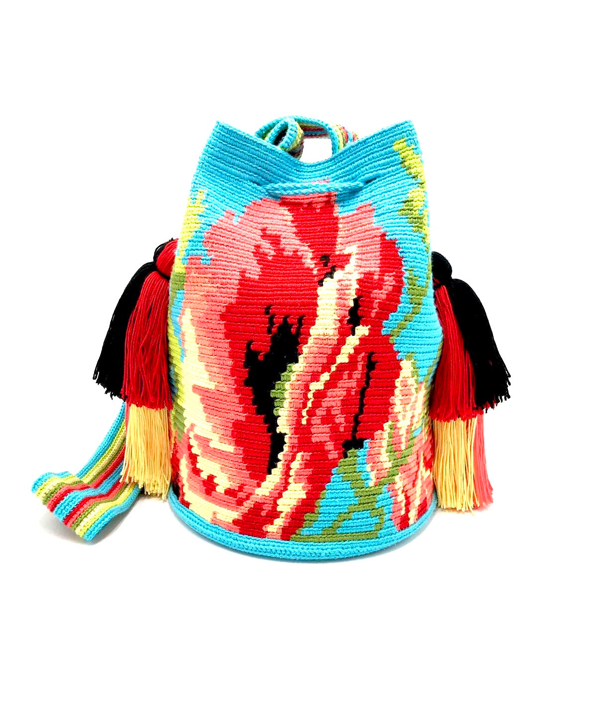 Poppy Flower bag, turquoise body and quadruple tassels.