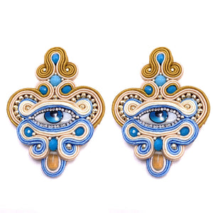 Gorgeous Evil eye earings, with crystal evil eye and quartz droplets.