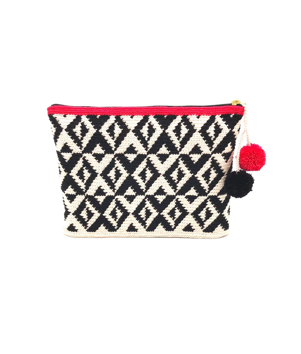 Clutch, Off white body Black X geometric pattern with pompons.