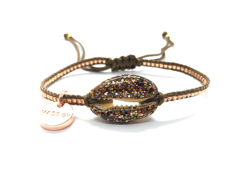 Choco glitter enamel shell bracelet, rose gold Miyuki beads and brown cord.
