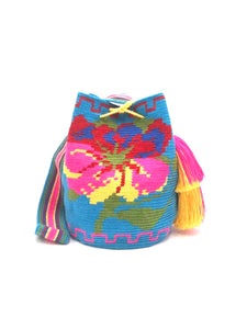 Blue bag, Fuchsia flower with strap and 2 tassels