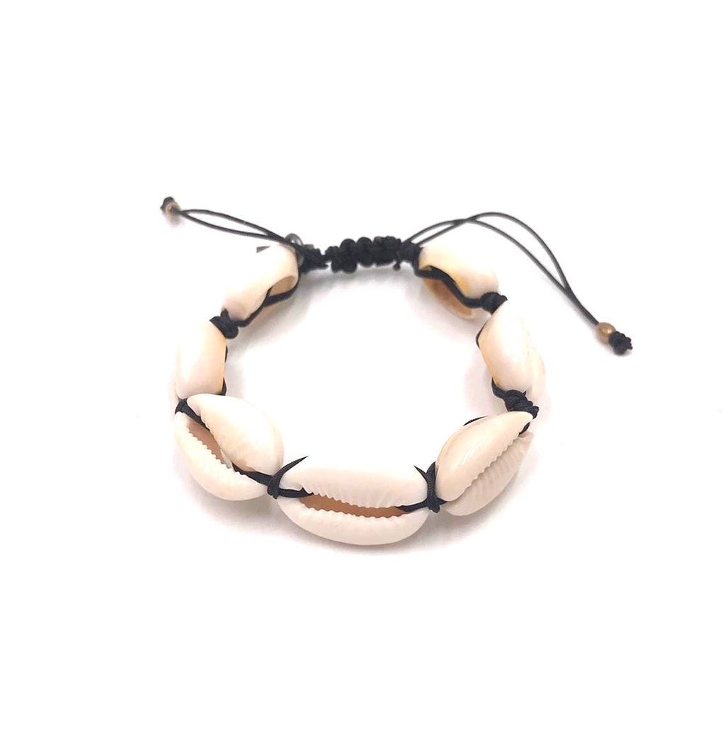 Natural shell bracelet with black cord.