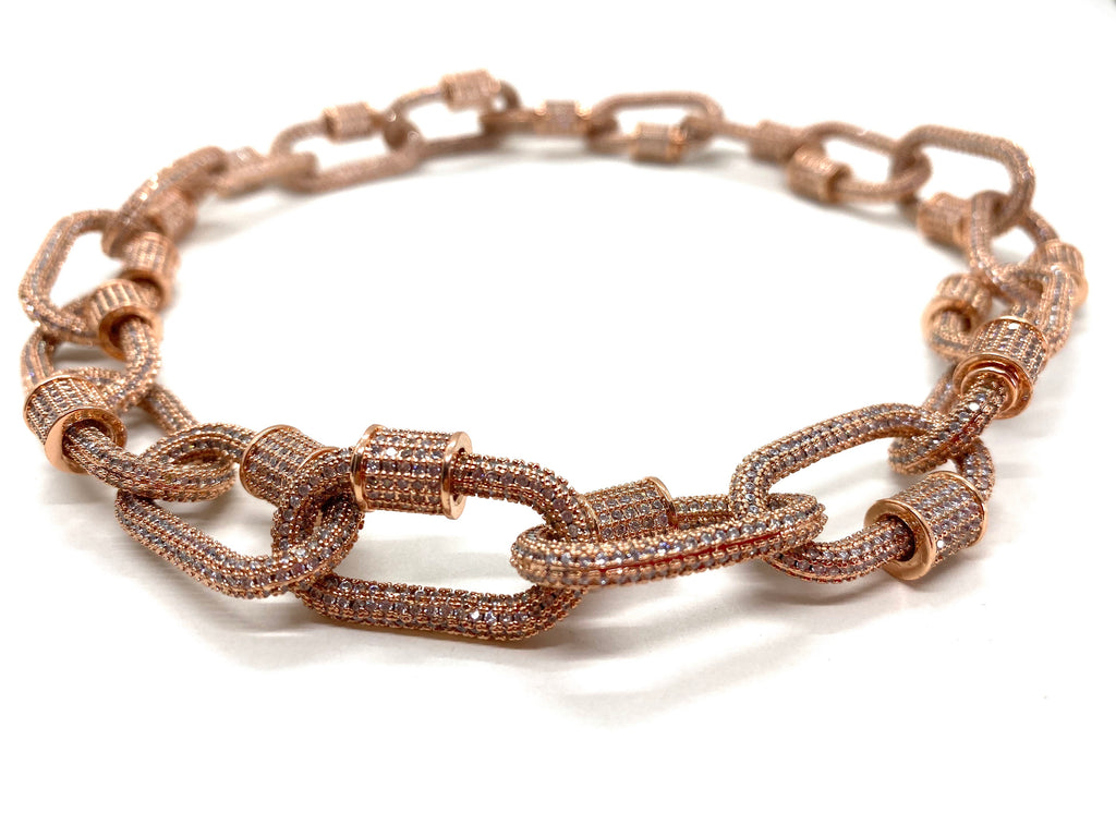 Hardware chocker, pink gold entirely studded.