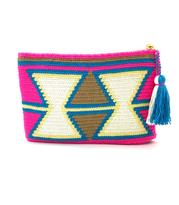 Clutch, Fluo Fuschia body, inverted white triangles and turquoise sequence pattern with tassel