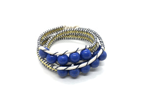 I love Syria - Triple Wrap around - blue stone - beige cord - black thread