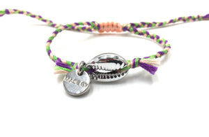 Silver shell bracelet, light pink, purple and grass green 'cotton perlé' braided cord