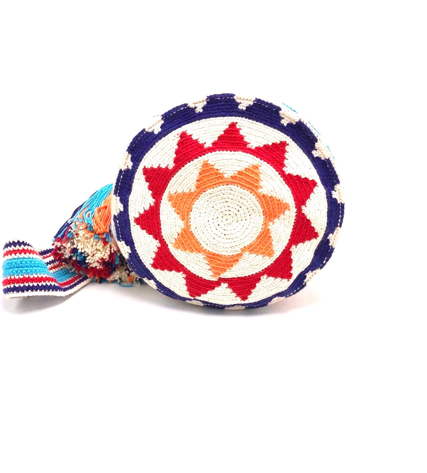 Pompom bag, blue 'losanges' red triangles.