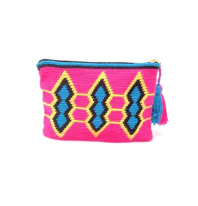 Clutch, Fluo Fuschia body, standing squares pattern, yellow and black sequence with tassel.
