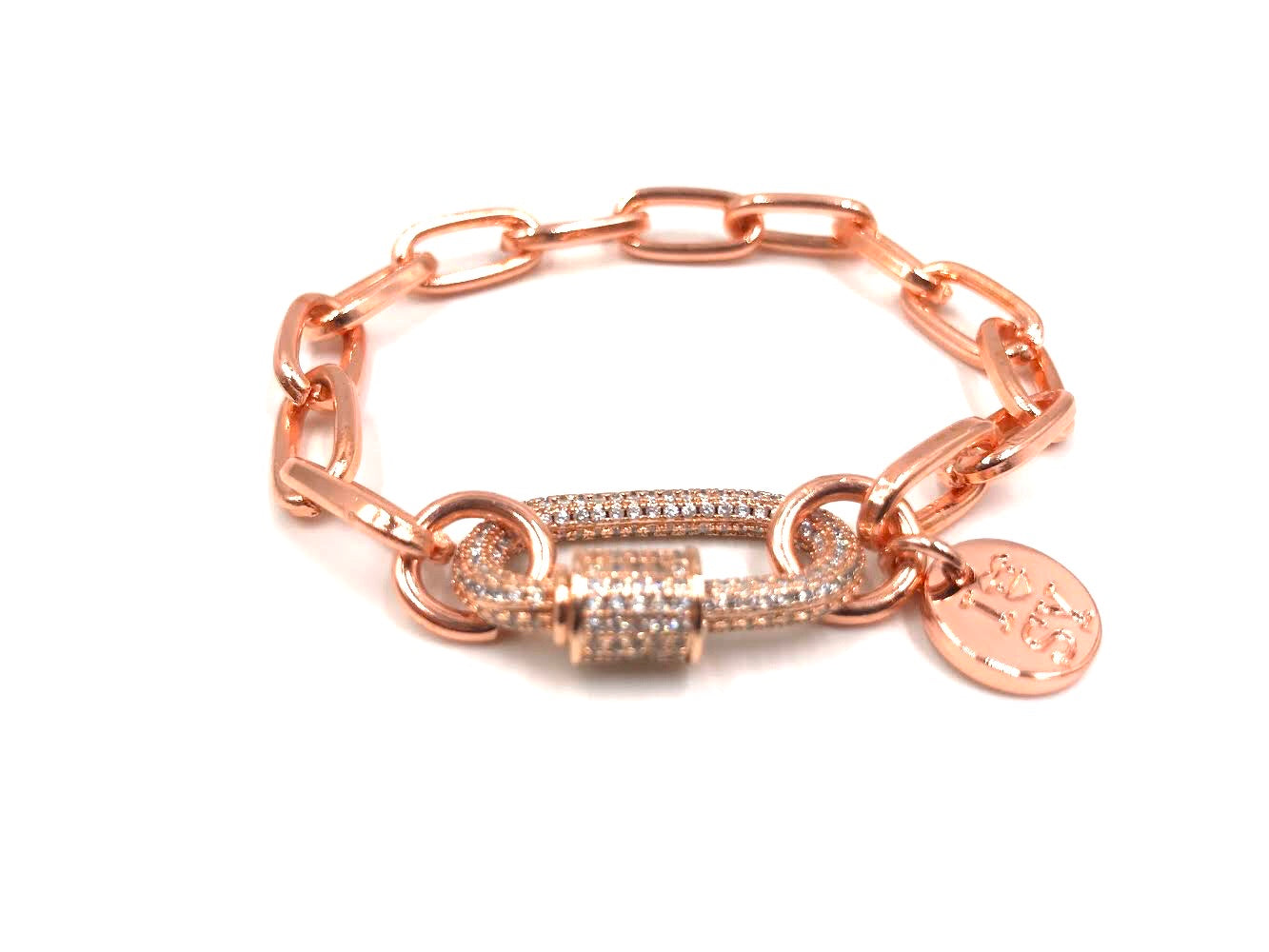 Rose gold bracelet, zirconia studded clip