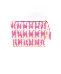 Clutch, off white body, Butterfly pattern, with tassel.