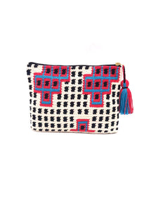 Clutch, polkadot pattern, with red squares and blue sequence.