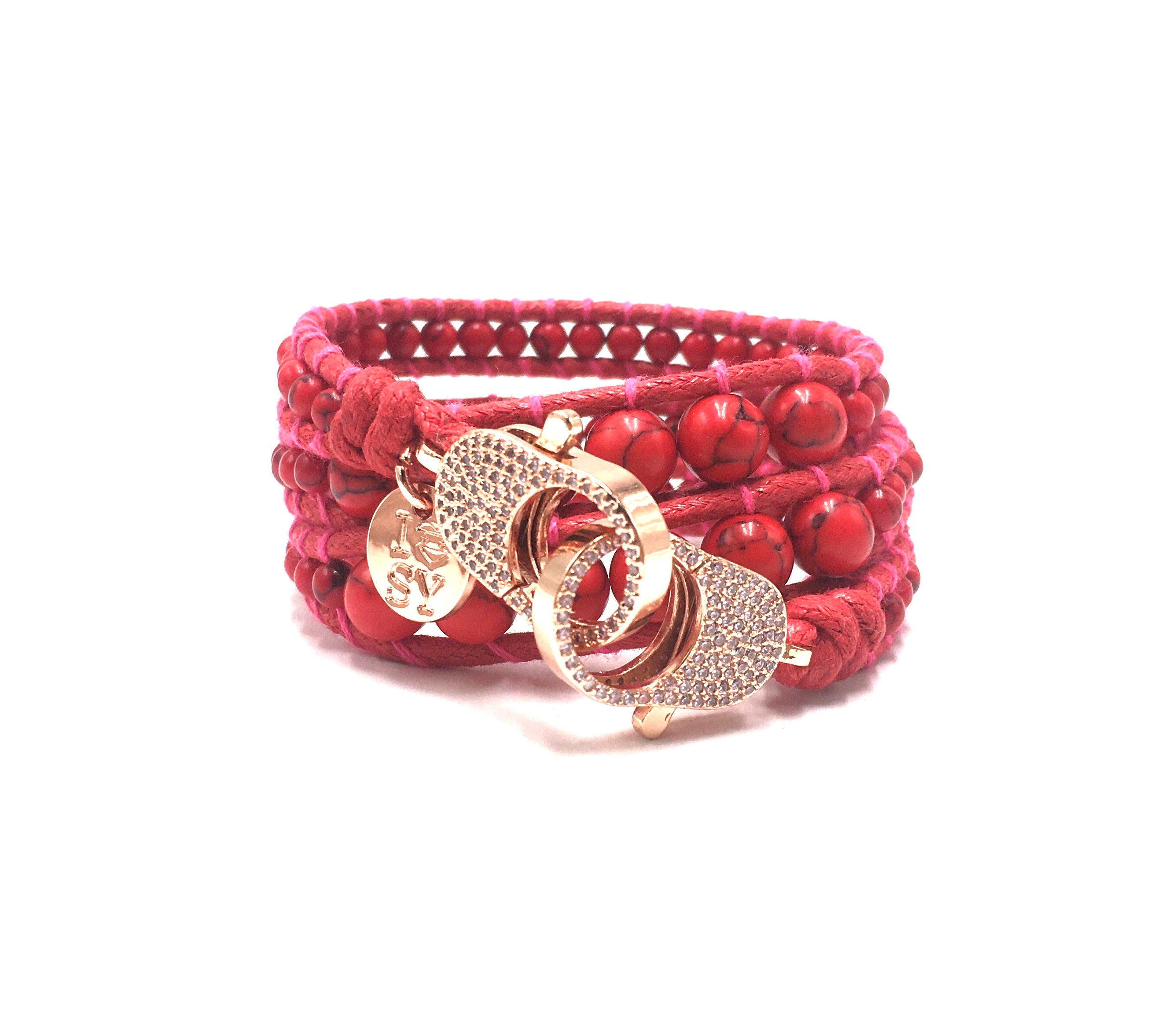 Red stone wrap bracelet, rose gold clips