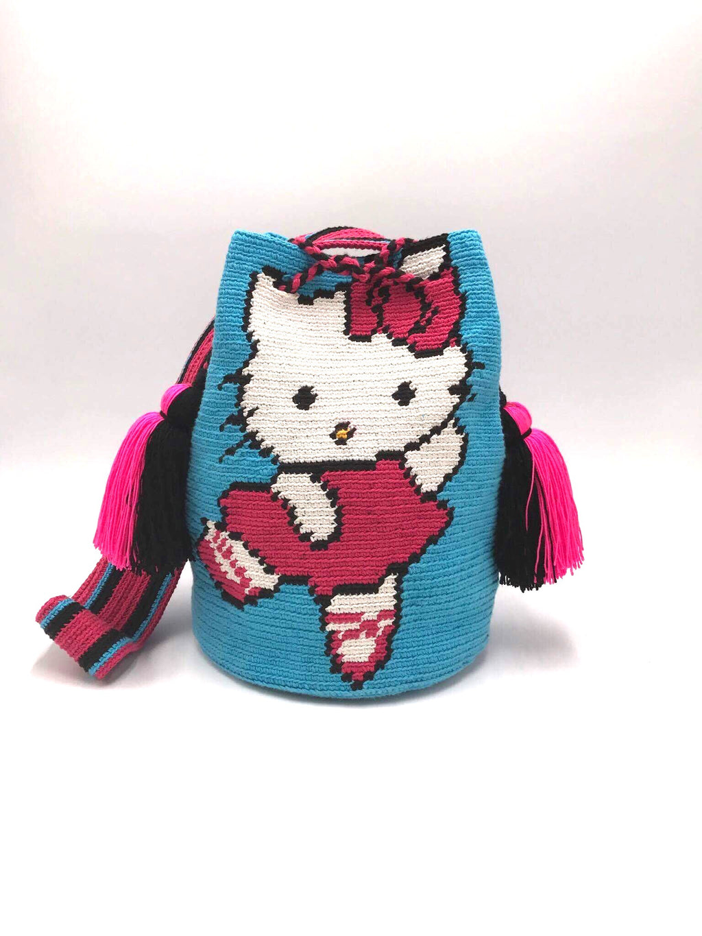 Pompom bag, dancing hello kitty, blue body.