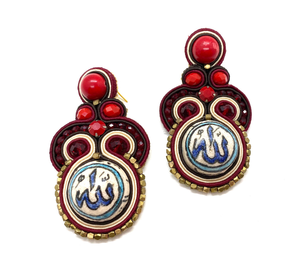 Ishani earings, traditional damascene ceramics.