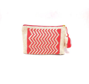 Clutch off white body, coral waves pattern, with tassel.