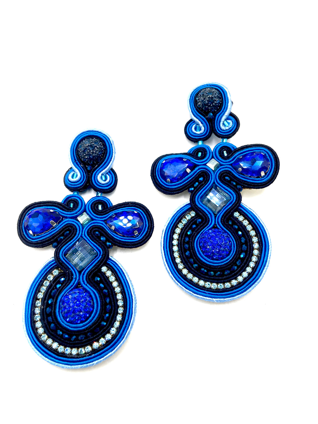 Electricity blue and shades of blue Swarovski droplet earings.