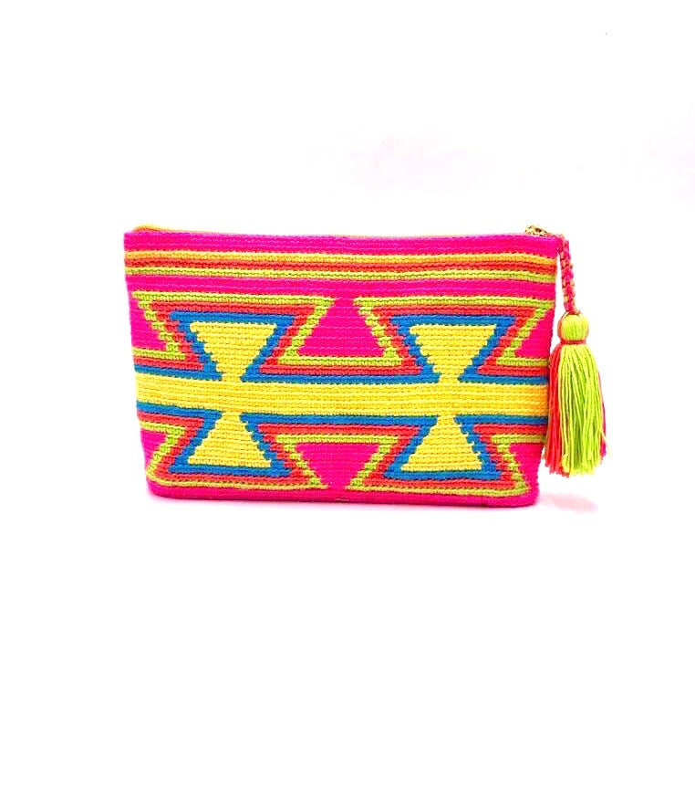Clutch, Fluo Fuschia body, inverted yellow triangles pattern with yellow sequence and tassel.