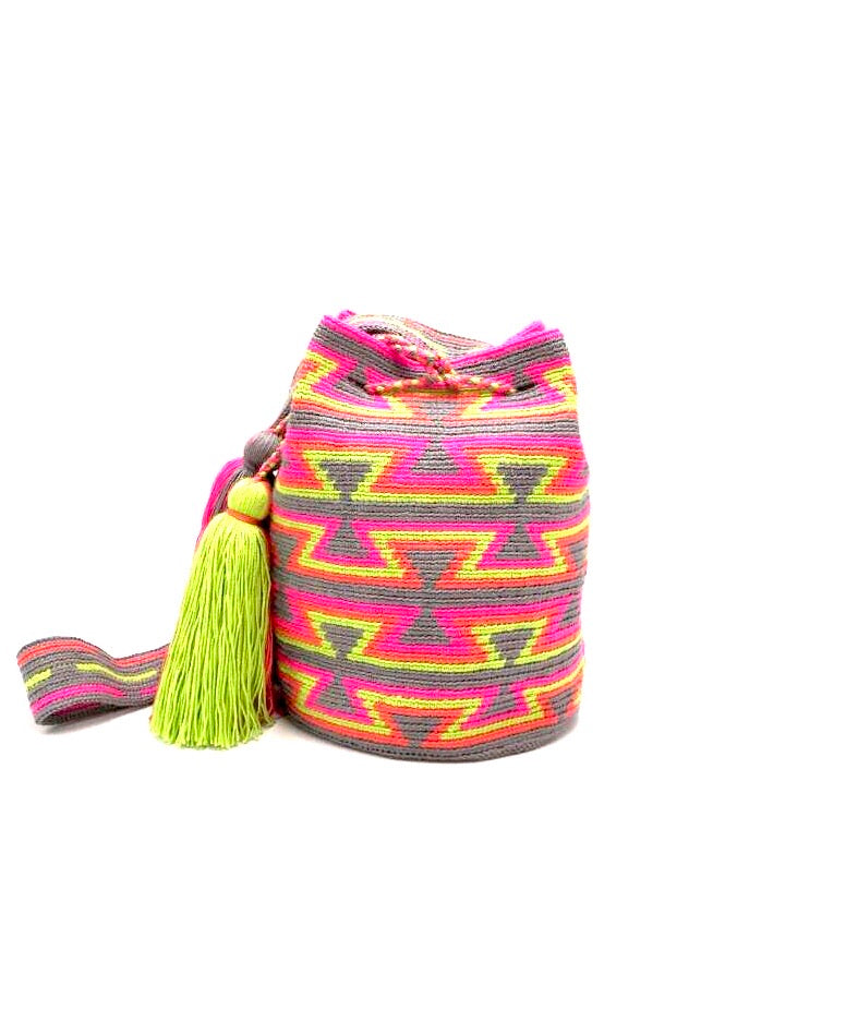 Grey bag, with open inverted triangle pattern in lime green, orange and fluorescent pink, with strap and 2 tassels