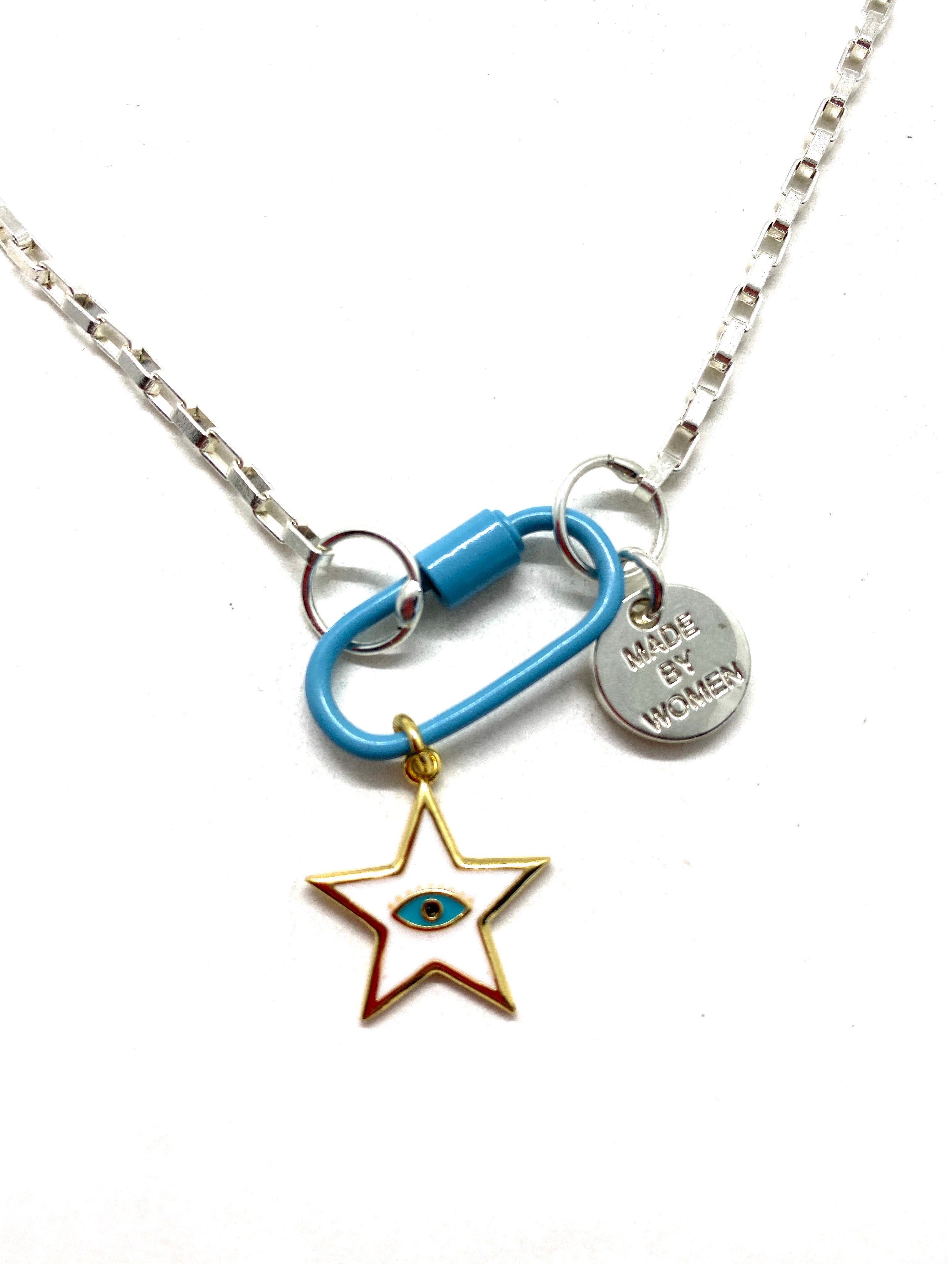 Blue hardware link silver chain