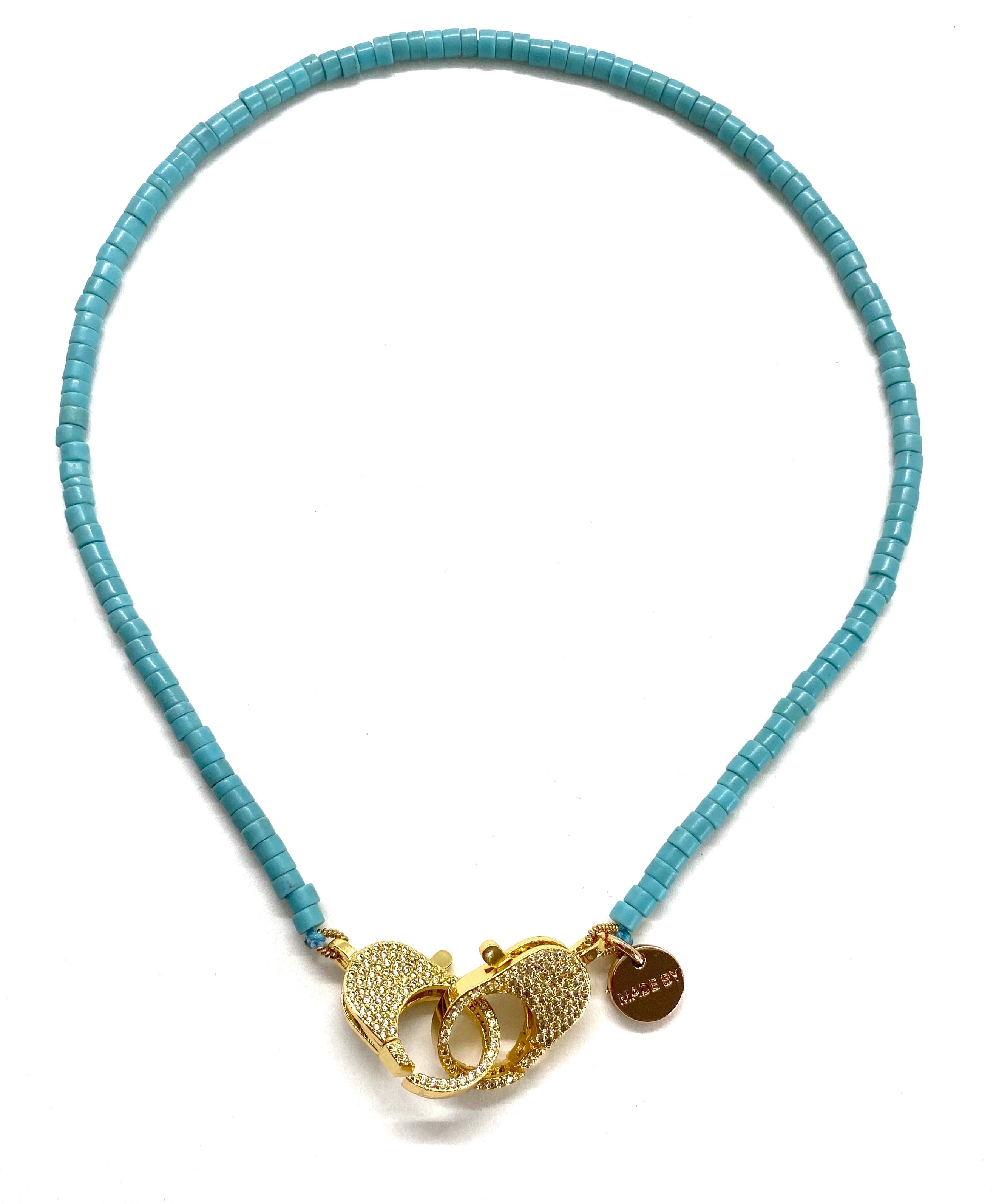 Blue 'rondelle' Christine necklace, gold clips