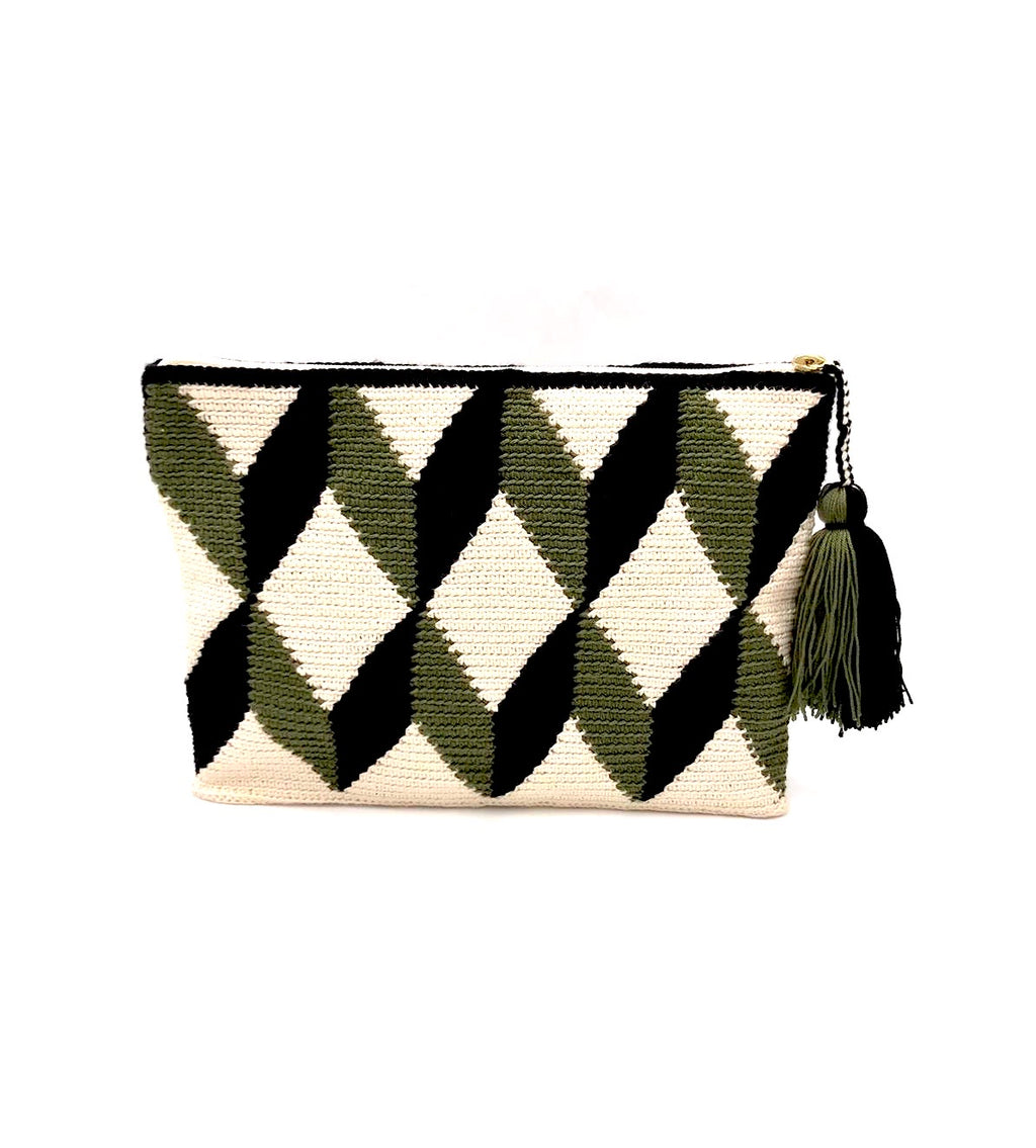 3D pattern clutch, cream body, dark green and black faceted cube with tassel