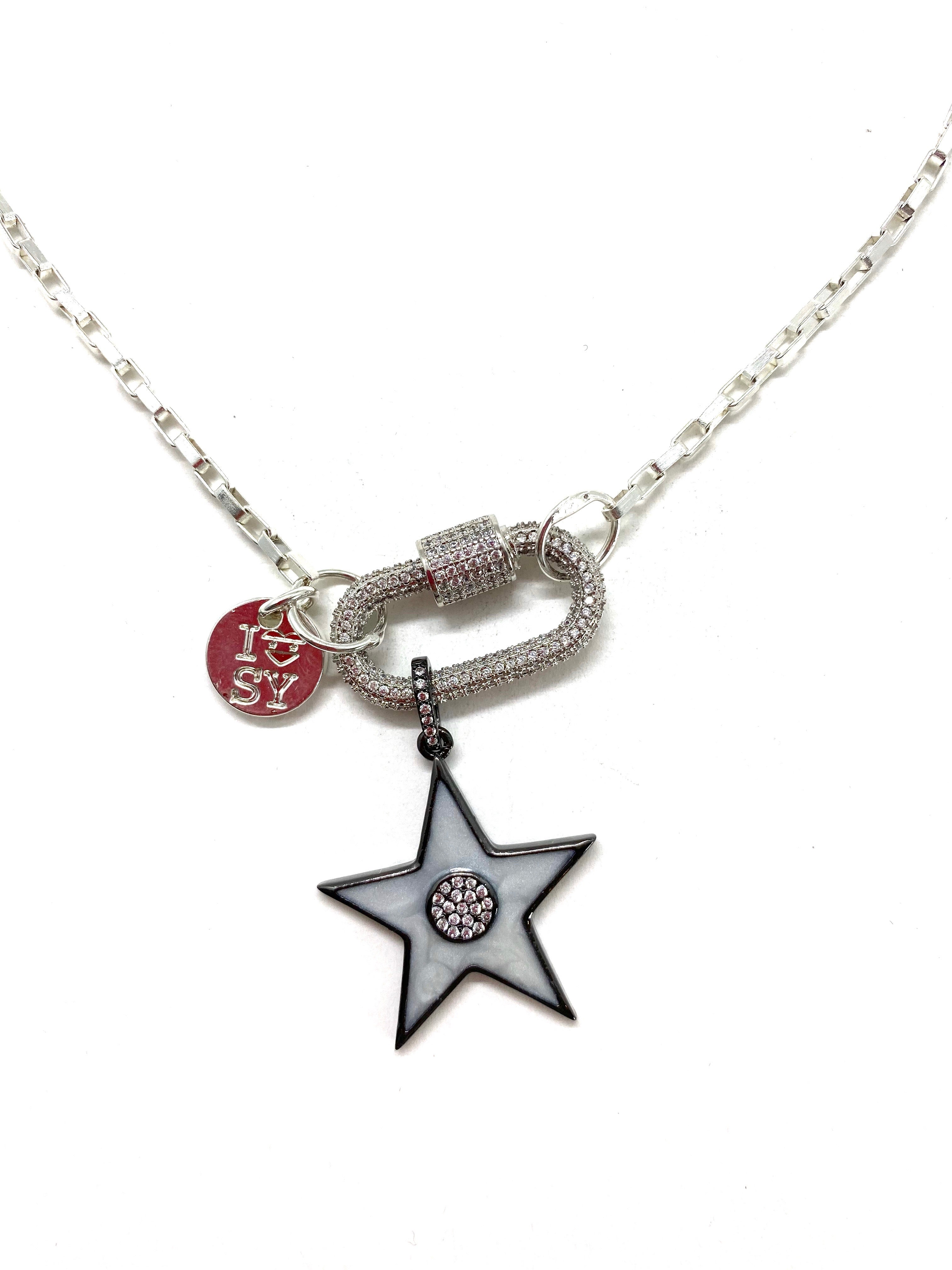 Clip to impact silver Hardware necklace, grey star.