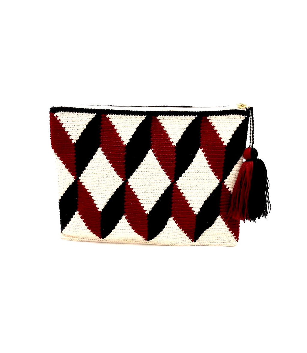 3D pattern clutch, cream body, burgundy and black faceted cube with tassel.