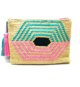 Honeycomb clutch, beige body turquoise and pink sequence with tassel.