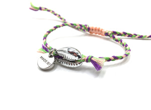 Silver Shell bracelet, light pink, purple and grass green 'cotton perlé' braid.