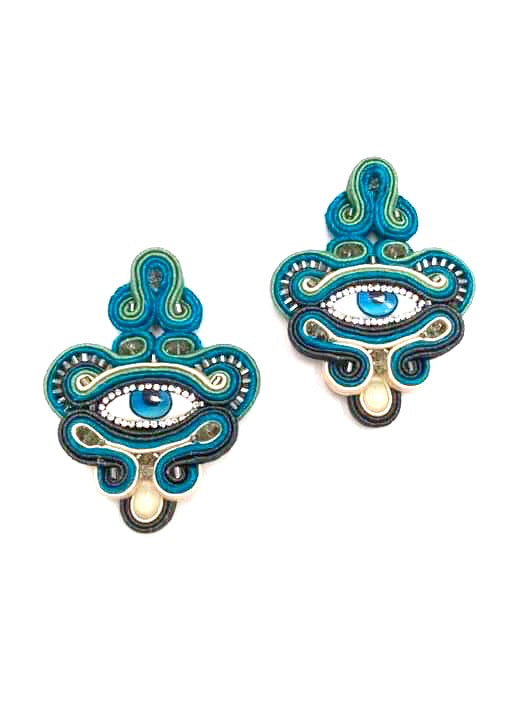 Evil eye earings, green and dark blue, crystal droplet.