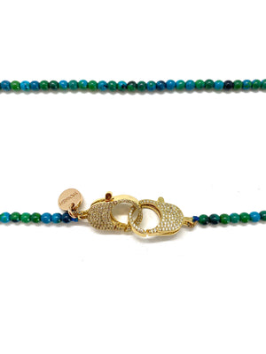 Chrysocolla Christine necklace, with gold clips