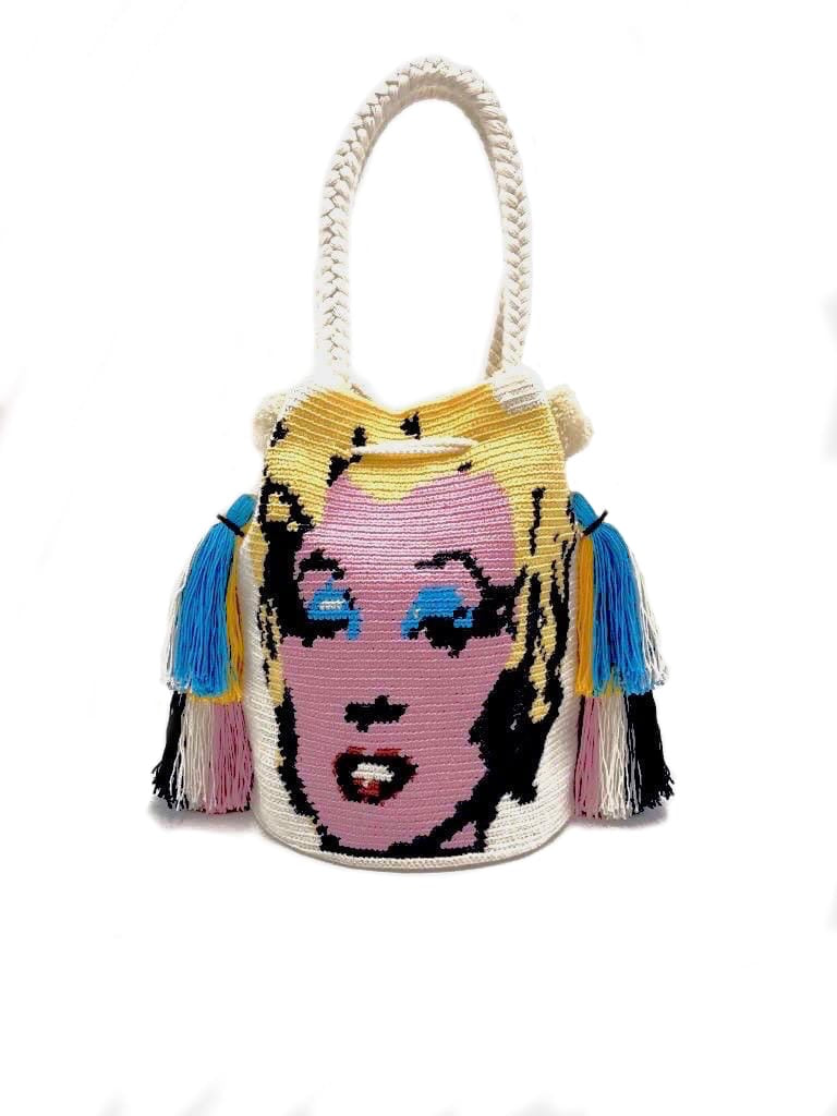Pop art Marilyn bag, white body, quadruple tassel.