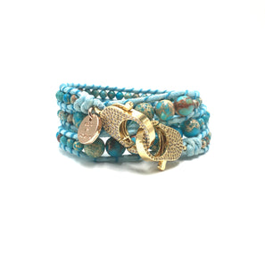 Sea sediment imperial jasper wrap bracelet, gold clips