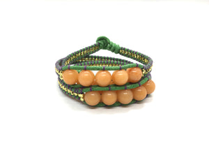 Wraparound bracelet honey stone