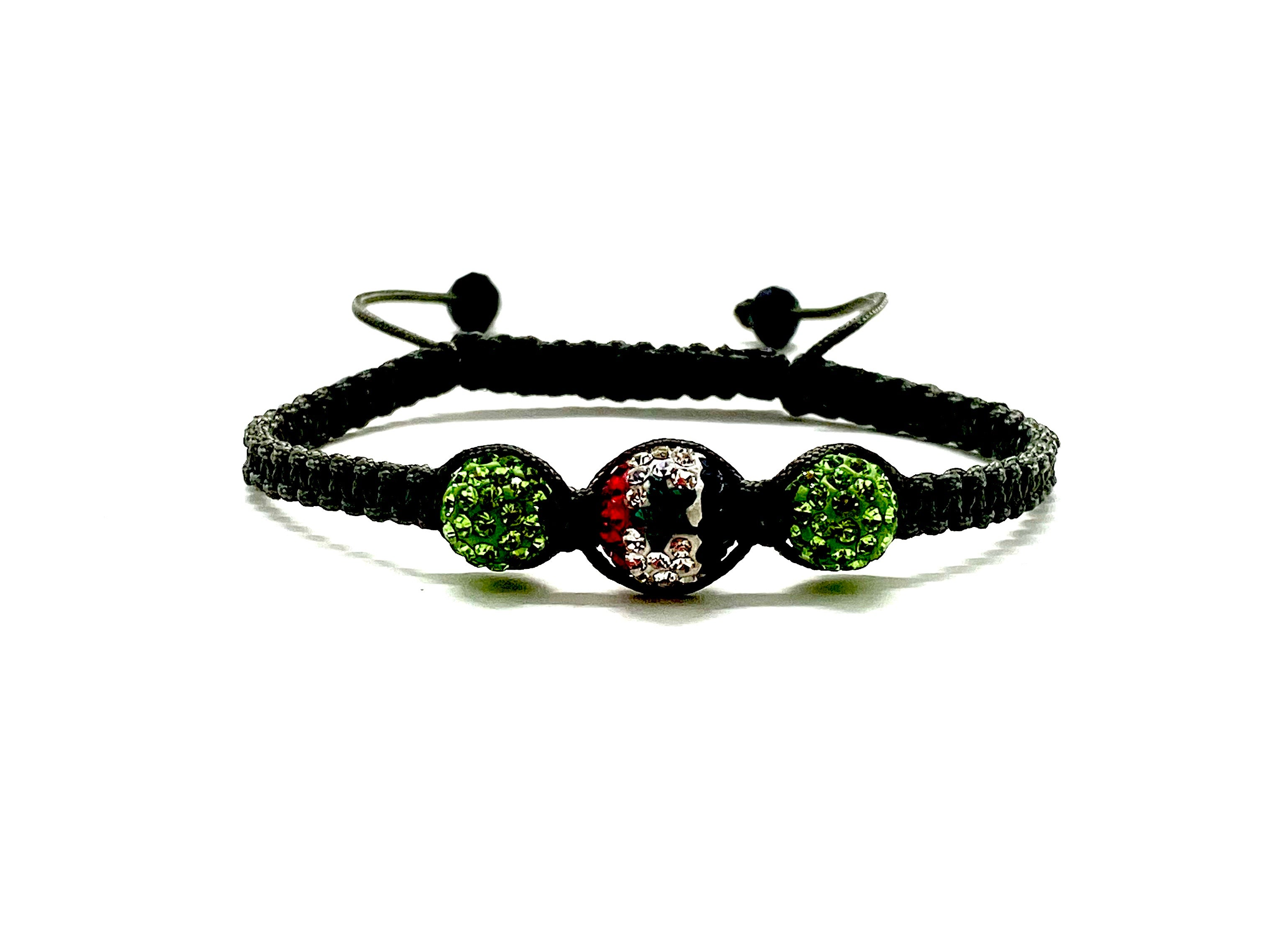 Syrian flag crystal bead bracelet with two light green side beads.