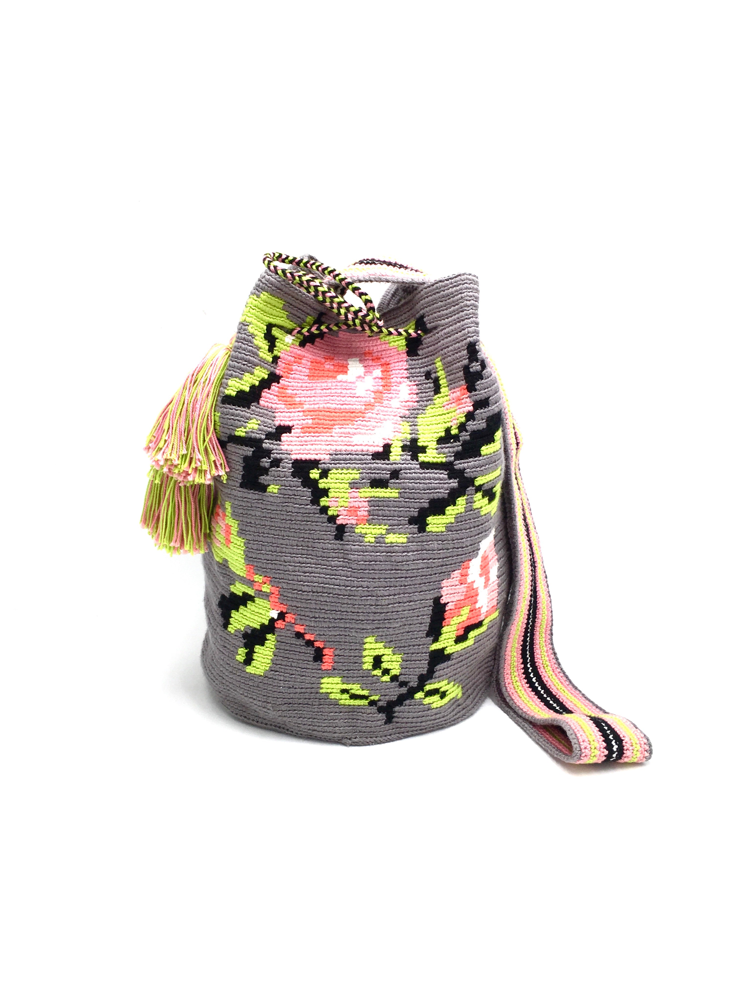 Roses bag, grey body, with rose pink flowers.