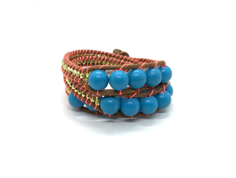 Triple Wrap around - turquoise small stone - brown cord - coral fluo thread