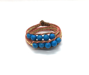 Triple wrap around bracelet- blue marble bead - brown cord - fluorescent pink thread
