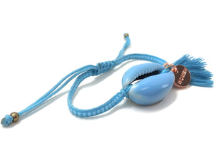 Baby Blue enameled Natural shell, with baby blue Miyuki beads, and tassel.