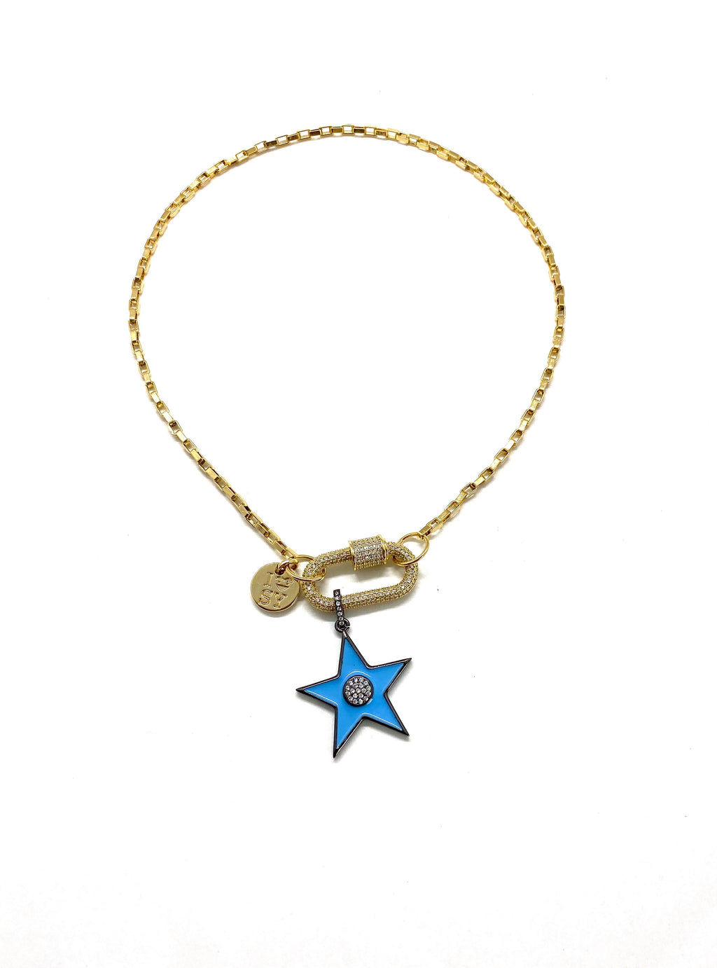 Clip to impact gold chain necklace, gold studded clip and blue star.