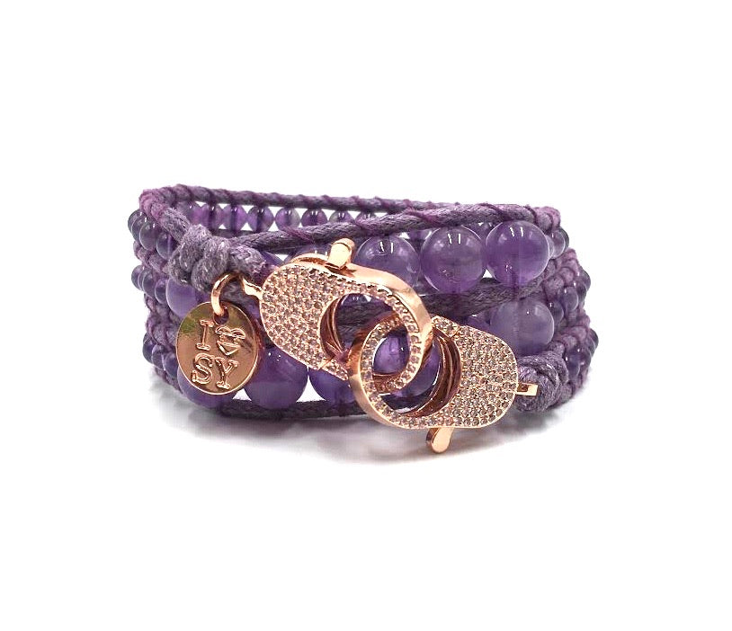 Amethyst wrap bracelet, rose gold clips