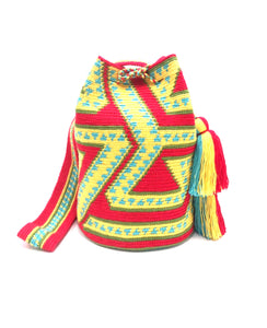 Snake bag, Yellow sequence and bright red body, double tassel.