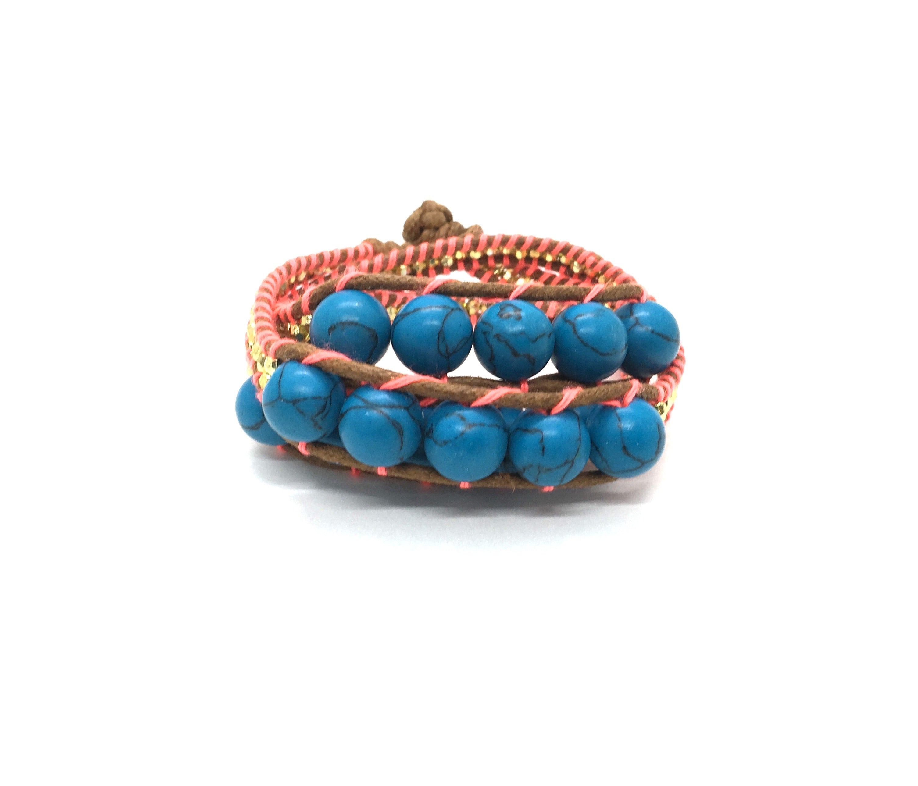 Wraparound Bracelet marbled Blue stone, gold resin side beads, brown cord fluo coral thread.