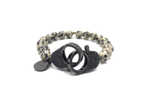 Dalmation jasper bracelet for men, black clips