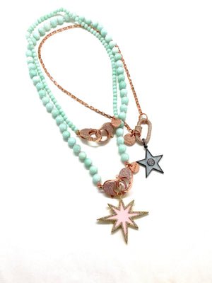 Aqua blue bead Christine necklace, rose gold zirconia clips