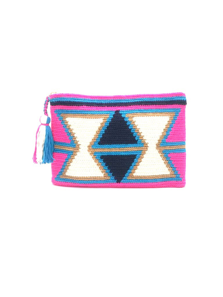Clutch, Fluo Fuschia body, Inverted white triangles pattern with tassel.