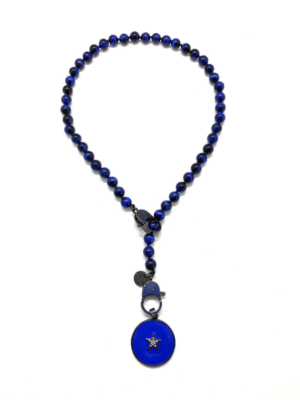 Lapis tiger stone Gaia necklace, round navy star pendant, deep blue zirconia clips