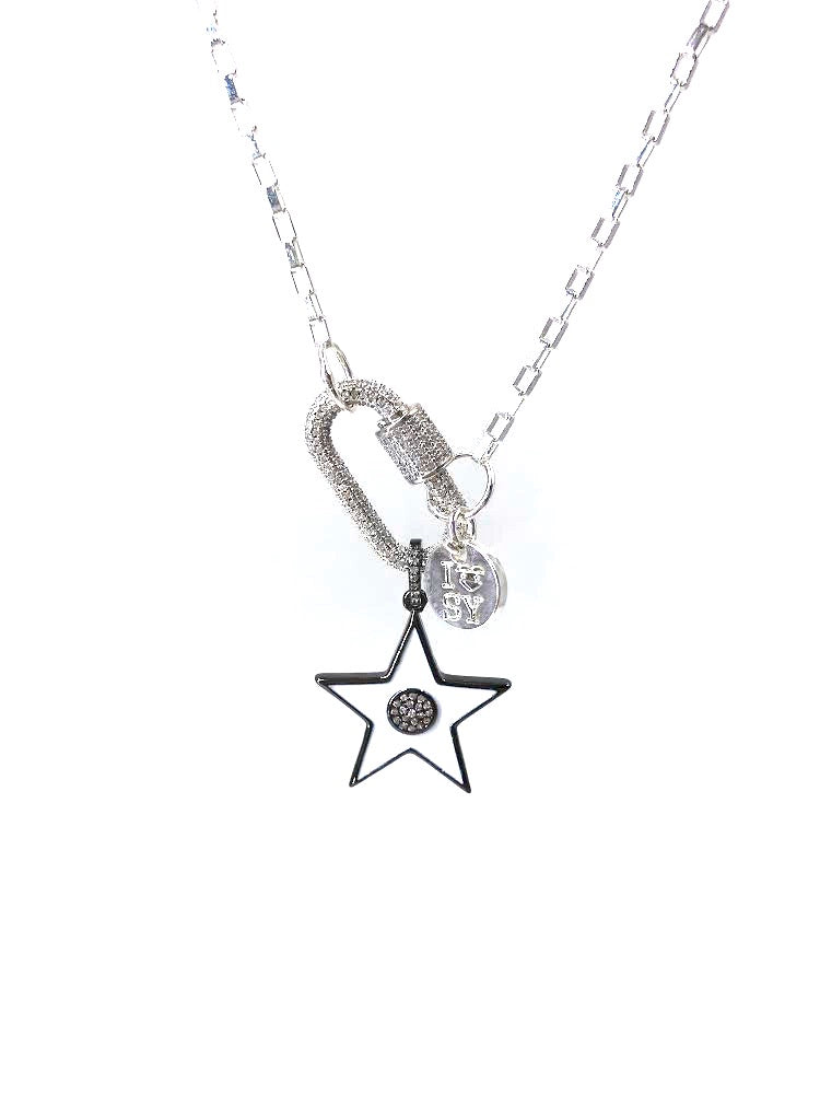 Hardware zirconia studded silver clip necklace white star.