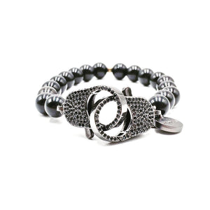 Clip2impact hematite bracelet for men.